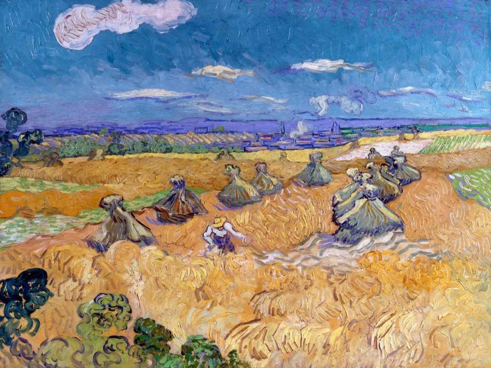 konfigurieren des Kunstdrucks in Wunschgröße Wheat Fields with Reaper Auvers von Van Gogh, Vincent