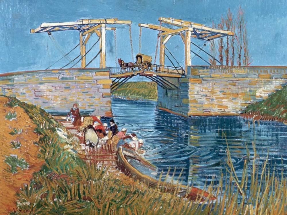 konfigurieren des Kunstdrucks in Wunschgröße Langlois Bridge with women washing von Van Gogh, Vincent