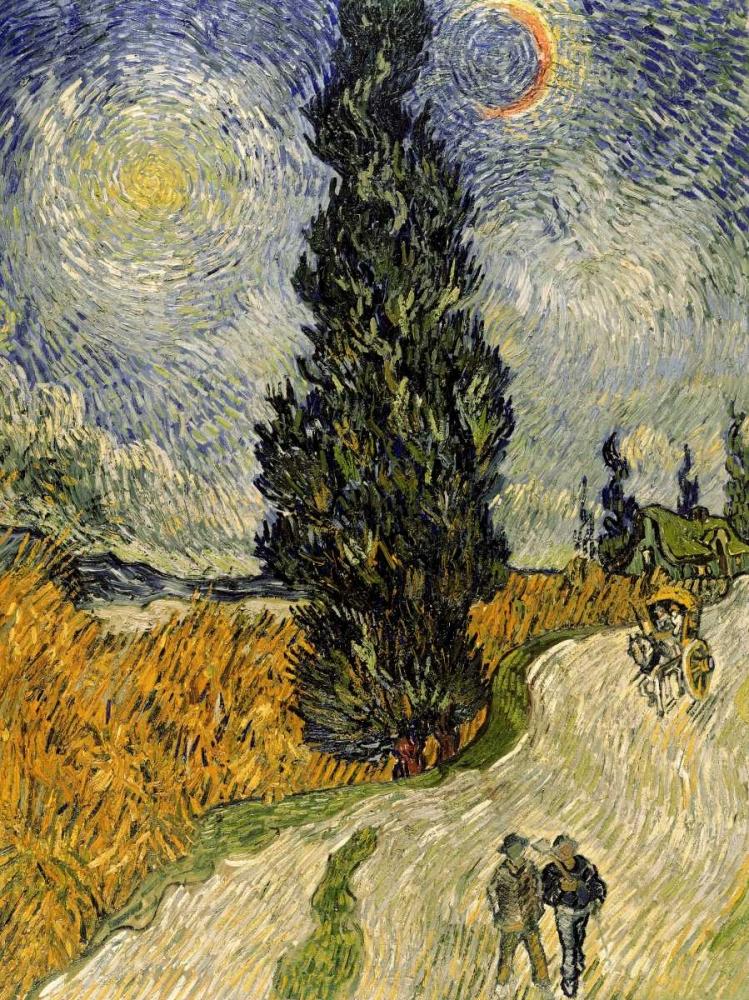 konfigurieren des Kunstdrucks in Wunschgröße Road with Cypresses von Van Gogh, Vincent