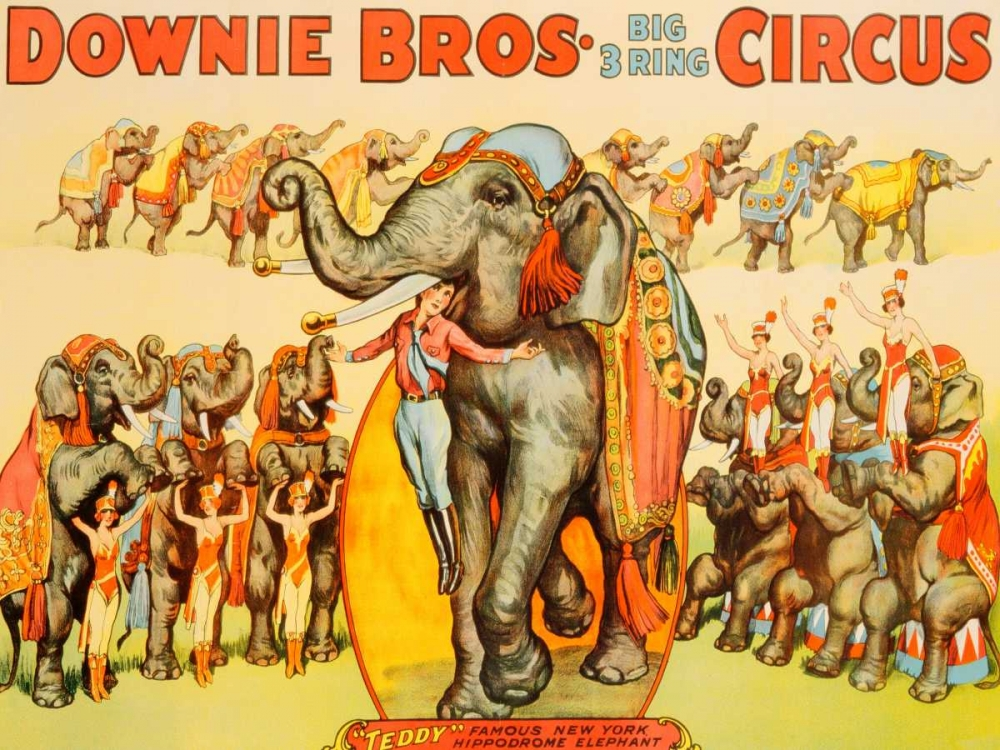 konfigurieren des Kunstdrucks in Wunschgröße Downie Bros. Big 3 Ring Circus 1935 von Anonymous