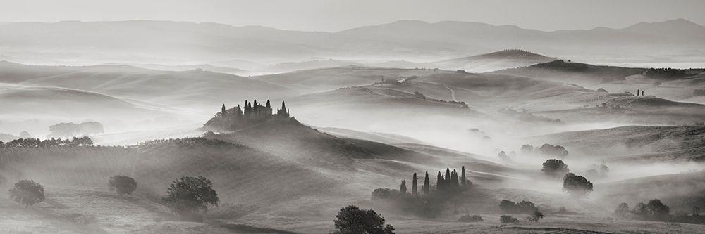 konfigurieren des Kunstdrucks in Wunschgröße Val dOrcia panorama- Siena- Tuscany (BW) von Krahmer, Frank