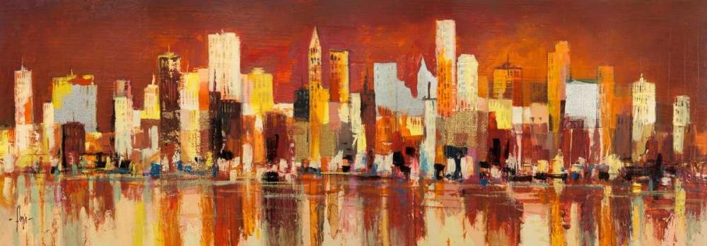 konfigurieren des Kunstdrucks in Wunschgröße Manhattan al tramonto von Florio, Luigi