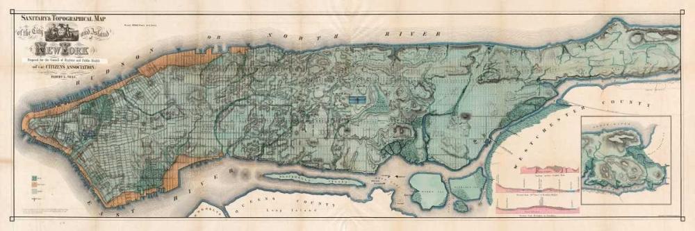 konfigurieren des Kunstdrucks in Wunschgröße Map of Manhattan Island, 1865 von Annenkov, Jurij Pavlovic