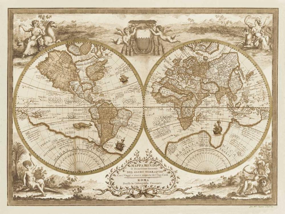 konfigurieren des Kunstdrucks in Wunschgröße Mappa del Globo Terraqueo von Anonymous