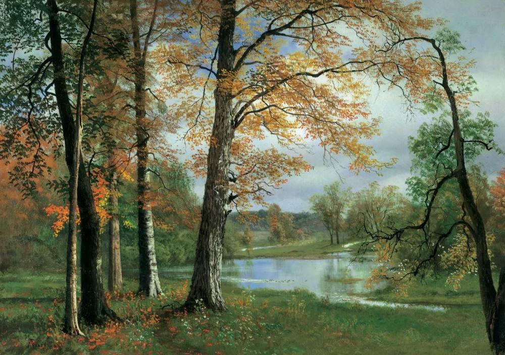 konfigurieren des Kunstdrucks in Wunschgröße A Quiet Pond von Bierstadt, Albert