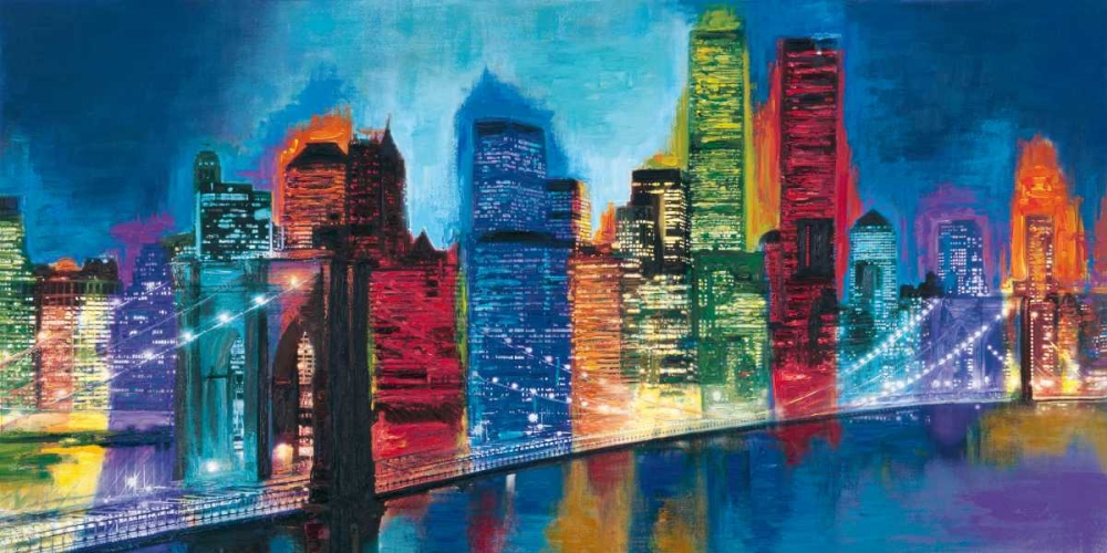 konfigurieren des Kunstdrucks in Wunschgröße Abstract NYC Skyline at Night von Carter, Brian