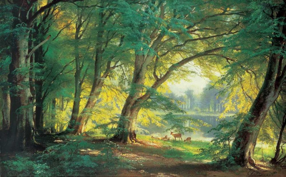 konfigurieren des Kunstdrucks in Wunschgröße Deer in a Forest von Aagaard, Carl Frederic