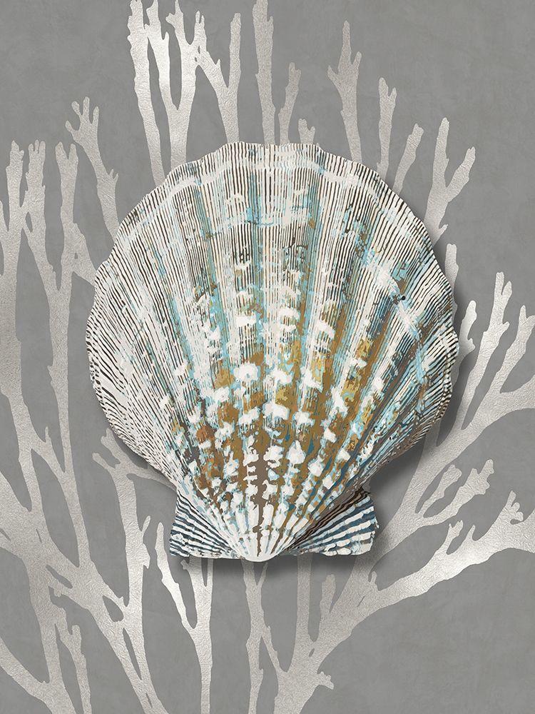 konfigurieren des Kunstdrucks in Wunschgröße Shell Coral Silver on Gray IV von Kelly, Caroline