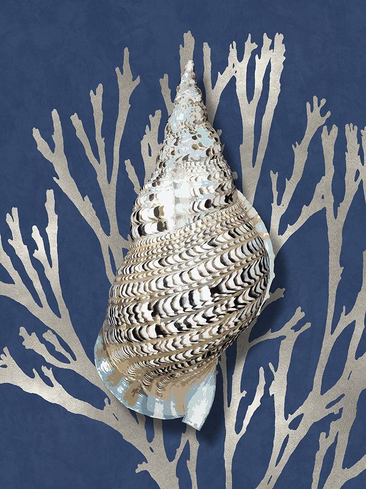 konfigurieren des Kunstdrucks in Wunschgröße Shell Coral Silver on Blue I von Kelly, Caroline