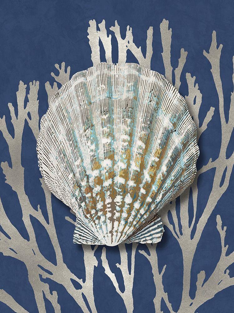 konfigurieren des Kunstdrucks in Wunschgröße Shell Coral Silver on Blue IV von Kelly, Caroline
