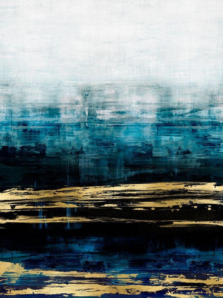 konfigurieren des Kunstdrucks in Wunschgröße Aqua Reflections with Gold von Corbin, Allie