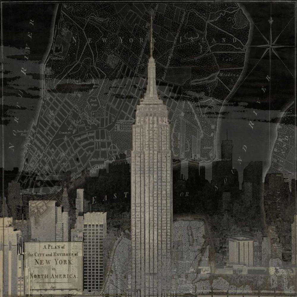konfigurieren des Kunstdrucks in Wunschgröße Vintage New York in Black I von Matthews, Dylan