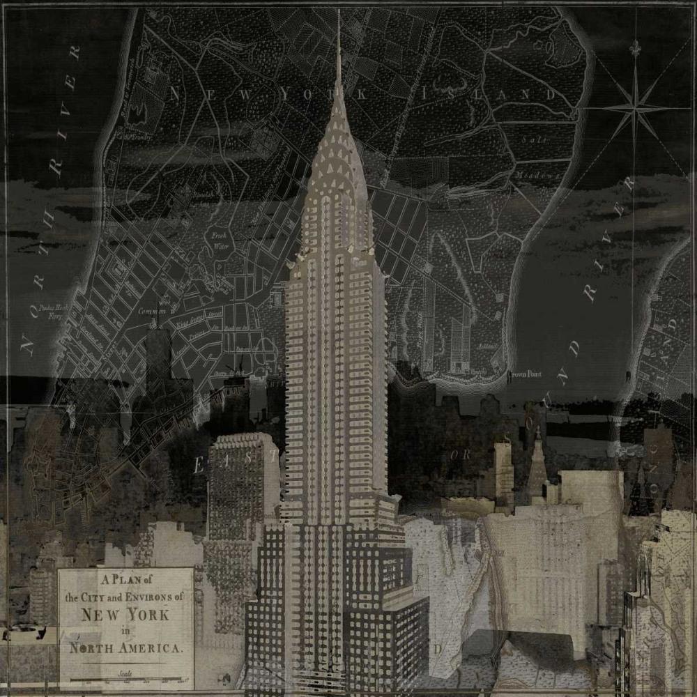 konfigurieren des Kunstdrucks in Wunschgröße Vintage New York in Black II von Matthews, Dylan