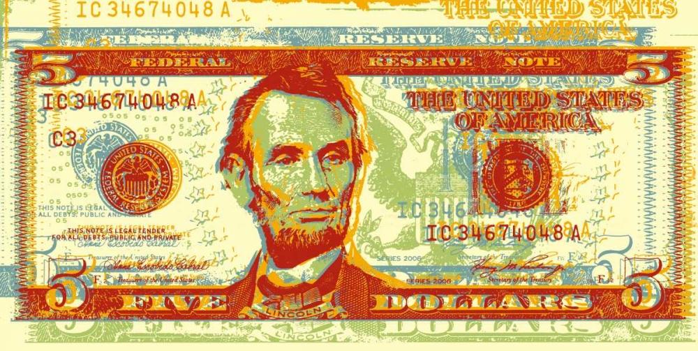 konfigurieren des Kunstdrucks in Wunschgröße Five Dollar Bill von Chambers, Dustin