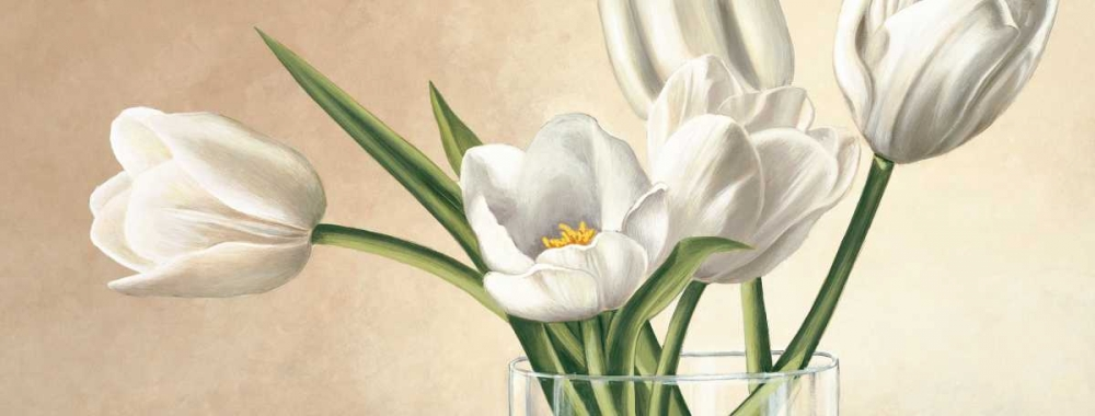 konfigurieren des Kunstdrucks in Wunschgröße Vaso con tulipani bianchi von Barberini, Eva