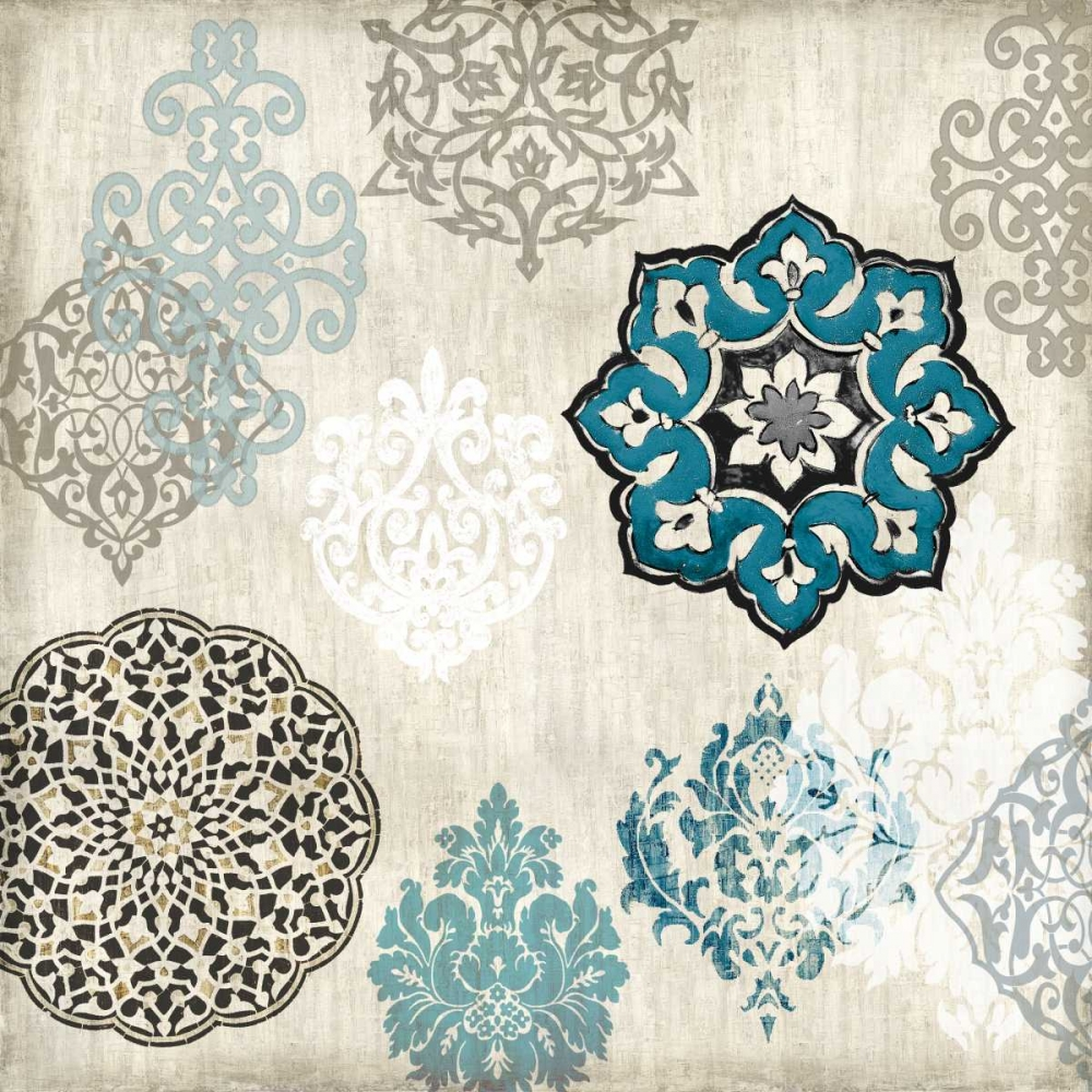 konfigurieren des Kunstdrucks in Wunschgröße Decorative Blue Ornaments I von Roberts, Ellie