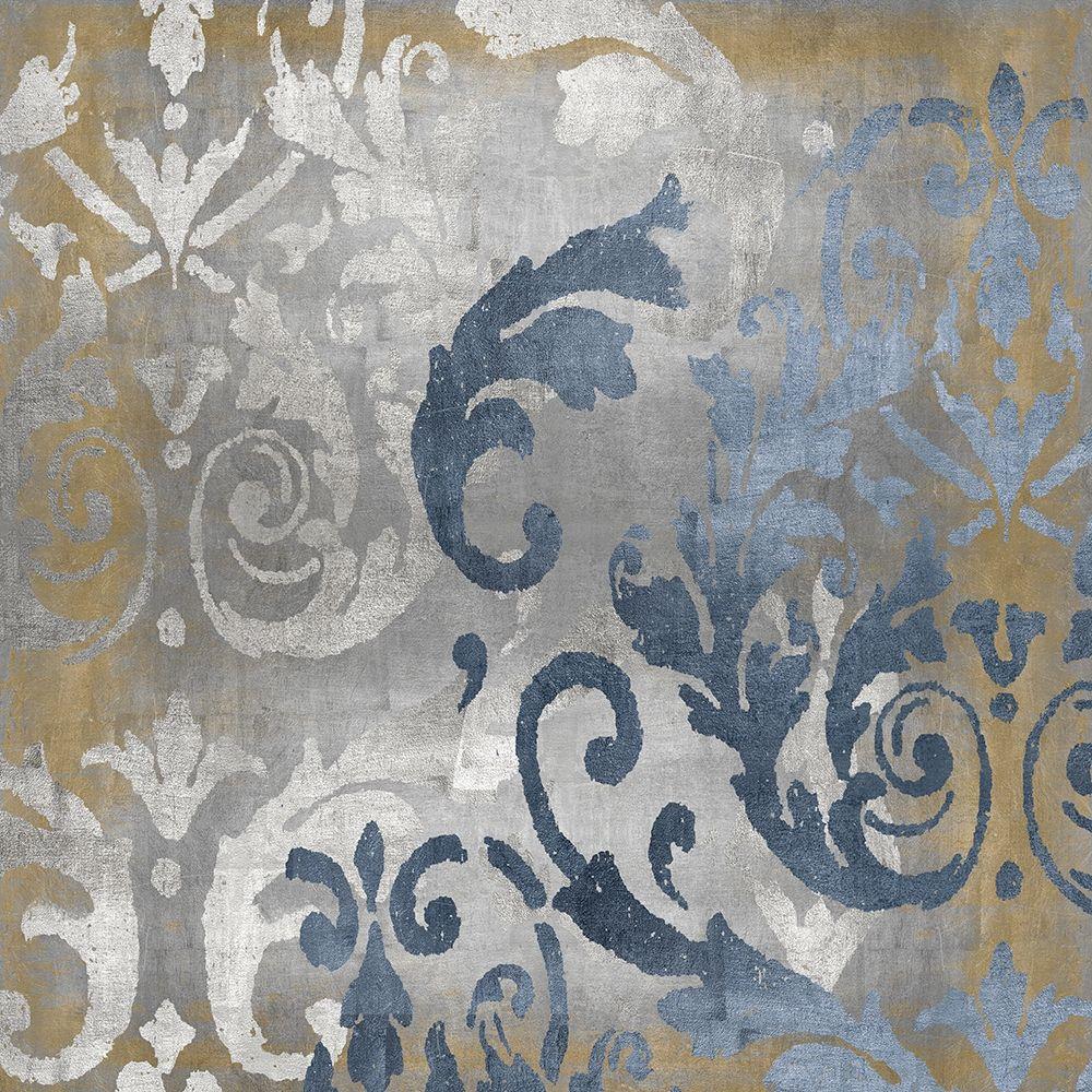 konfigurieren des Kunstdrucks in Wunschgröße Damask in Silver and Gold I von Roberts, Ellie