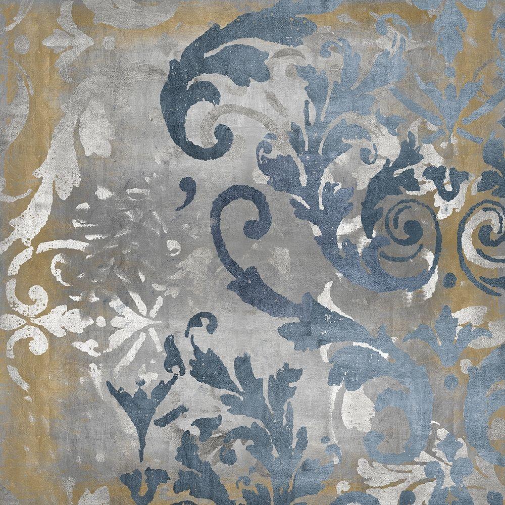 konfigurieren des Kunstdrucks in Wunschgröße Damask in Silver and Gold II von Roberts, Ellie