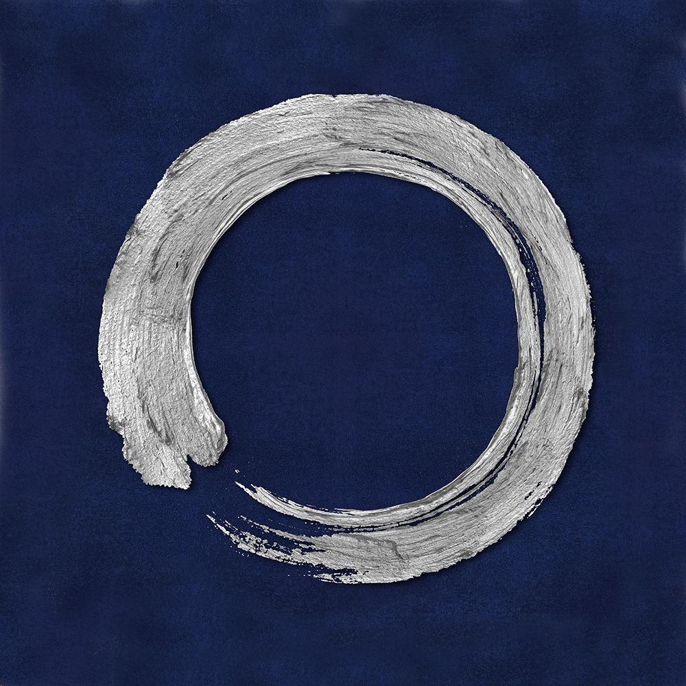 konfigurieren des Kunstdrucks in Wunschgröße Silver Zen Circle on Blue I von Roberts, Ellie