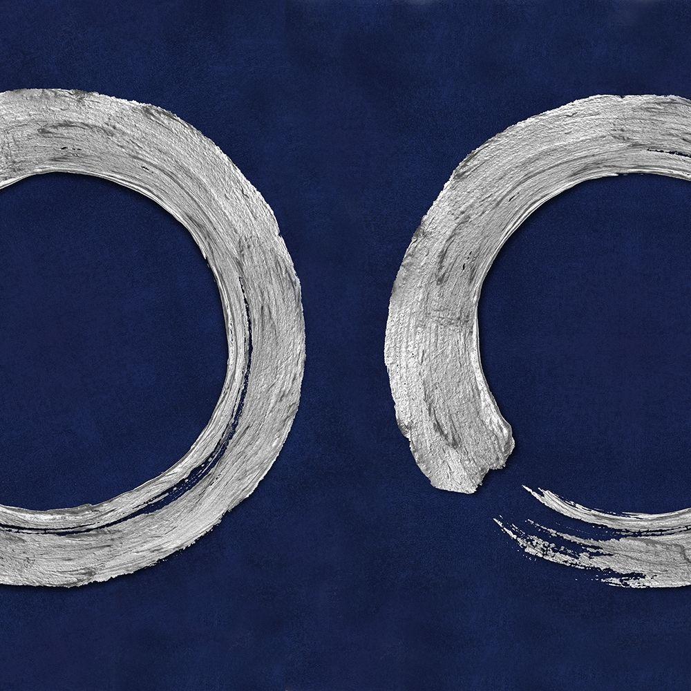 konfigurieren des Kunstdrucks in Wunschgröße Silver Zen Circle on Blue II von Roberts, Ellie