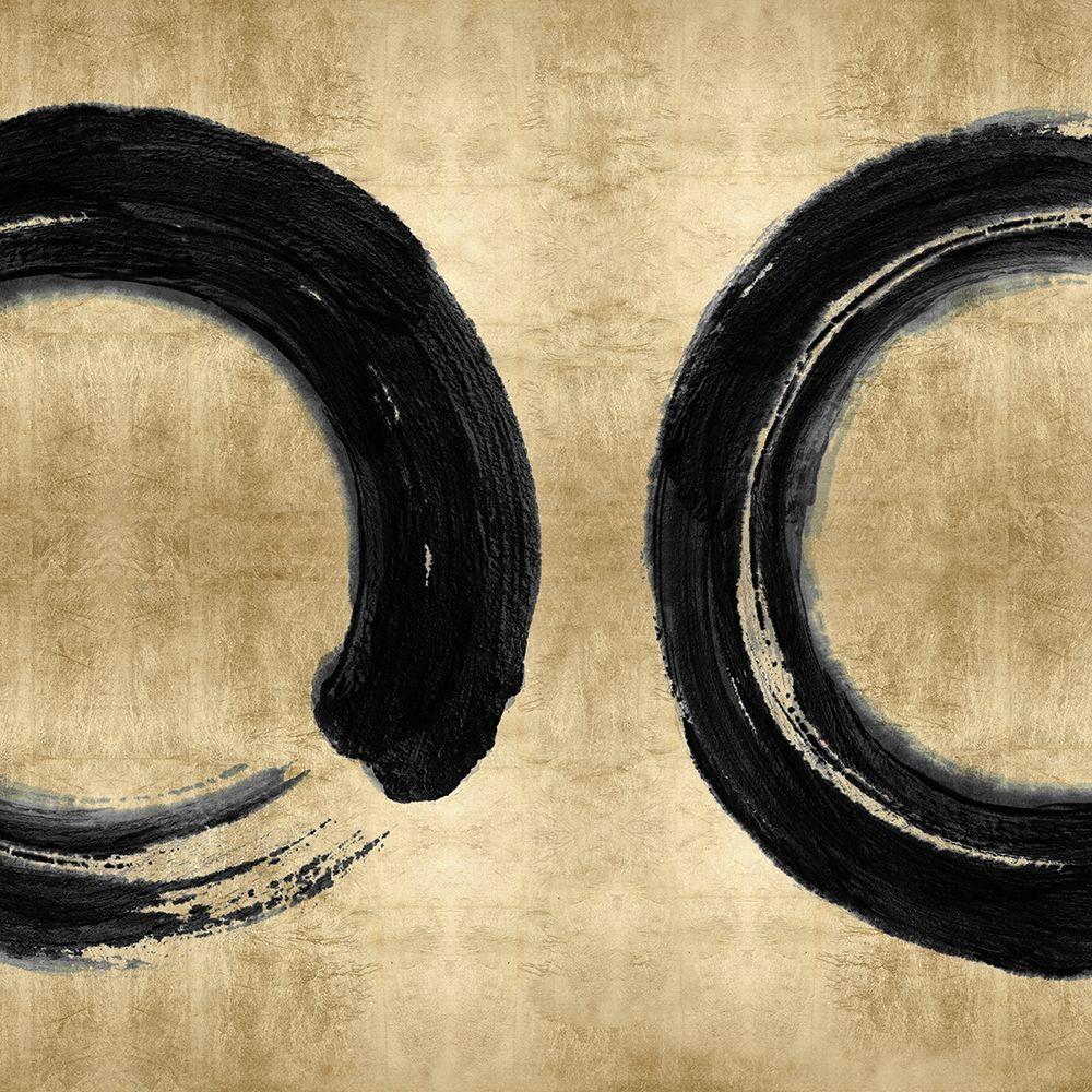 konfigurieren des Kunstdrucks in Wunschgröße Black Zen Circle on Gold II von Roberts, Ellie