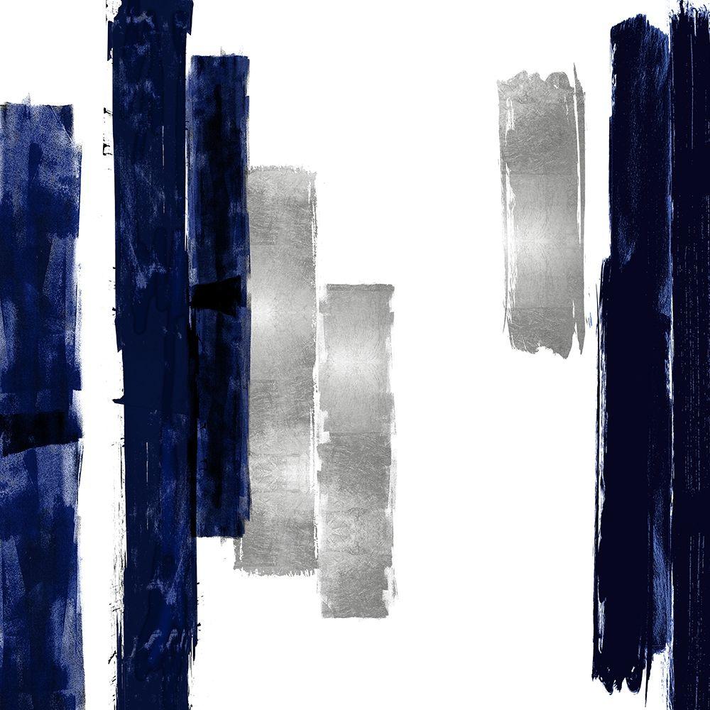 konfigurieren des Kunstdrucks in Wunschgröße Vertical Blue and Silver I von Roberts, Ellie