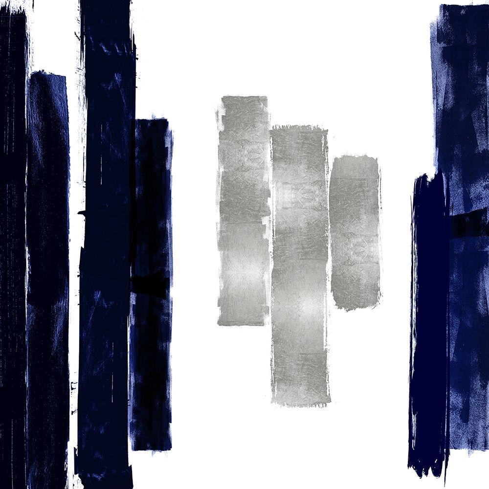 konfigurieren des Kunstdrucks in Wunschgröße Vertical Blue and Silver II von Roberts, Ellie