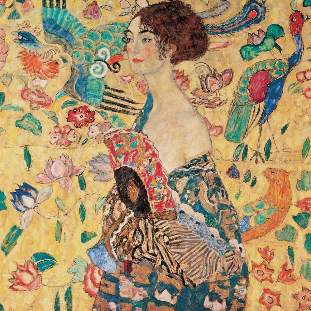 konfigurieren des Kunstdrucks in Wunschgröße Donna con ventaglio von Klimt, Gustav