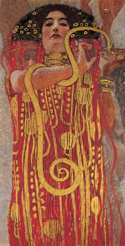 person,people,female,boy,figurative,red,gold,black,foil,metallic,masters,museum,Figurative,,,,,GK2138,Hygieia,Klimt, Gustav,Vertical