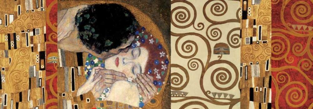 konfigurieren des Kunstdrucks in Wunschgröße Klimt Deco-The Kiss von Klimt, Gustav