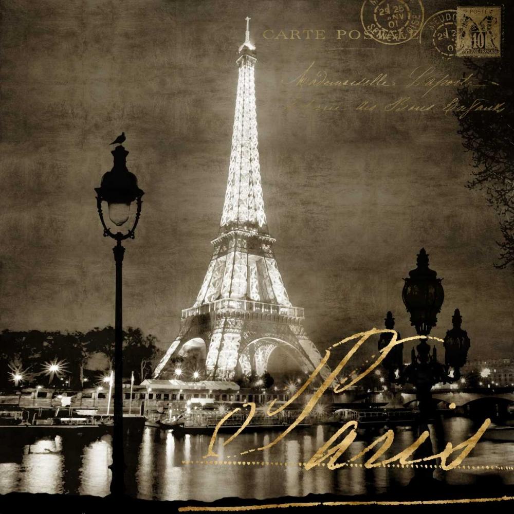 konfigurieren des Kunstdrucks in Wunschgröße Paris At Night In Sepia von Carrigan, Kate