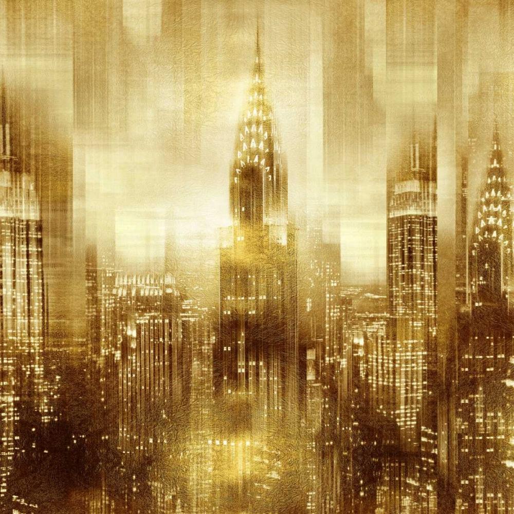 konfigurieren des Kunstdrucks in Wunschgröße NYC - Reflections in Gold I von Carrigan, Kate
