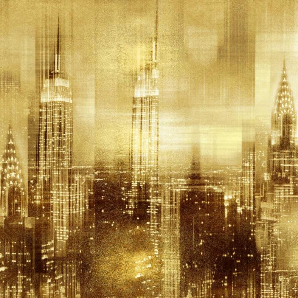 konfigurieren des Kunstdrucks in Wunschgröße NYC - Reflections in Gold II von Carrigan, Kate