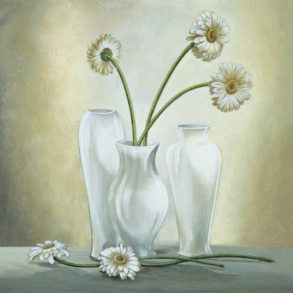 konfigurieren des Kunstdrucks in Wunschgröße Vasi bianchi con gerbere von Corradini, Lisa