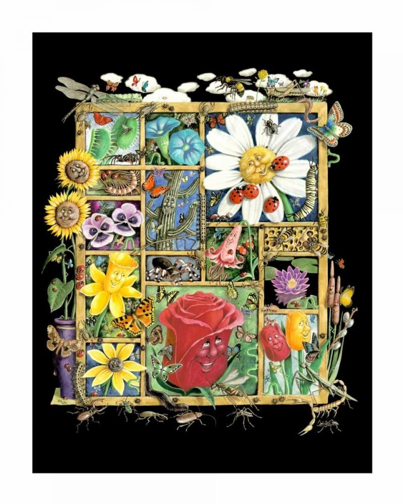 konfigurieren des Kunstdrucks in Wunschgröße Shadowbox Hunt -Bugs and Bloss von Seeley, Laura