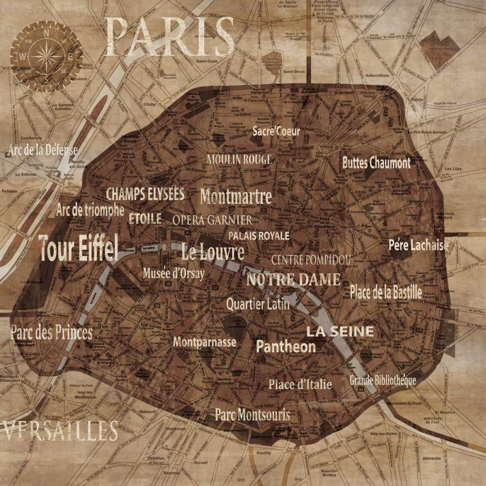 konfigurieren des Kunstdrucks in Wunschgröße Map of Paris von Wilson, Luke