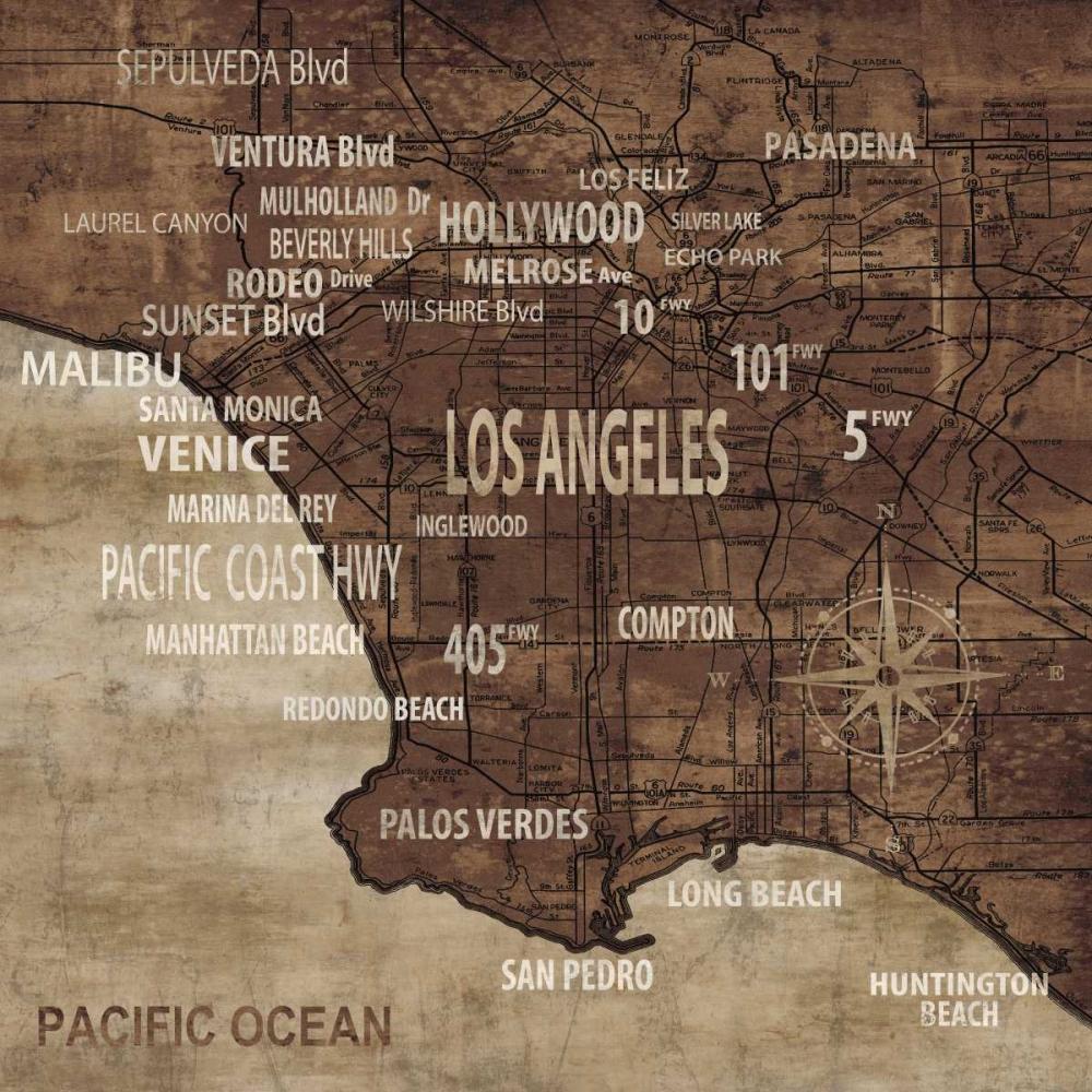 konfigurieren des Kunstdrucks in Wunschgröße Map of Los Angeles von Wilson, Luke