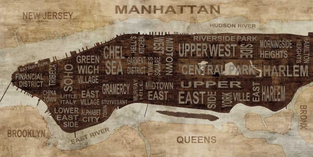 konfigurieren des Kunstdrucks in Wunschgröße Manhattan Neighborhoods von Wilson, Luke