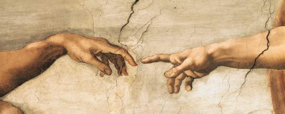 konfigurieren des Kunstdrucks in Wunschgröße Creazione di Adamo-particol von Michelangelo