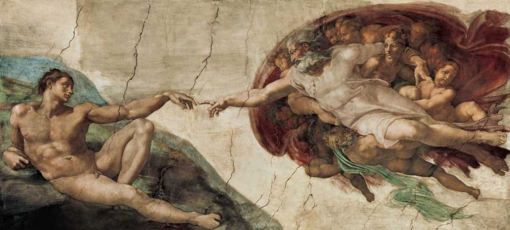 konfigurieren des Kunstdrucks in Wunschgröße Creazione di Adamo von Michelangelo