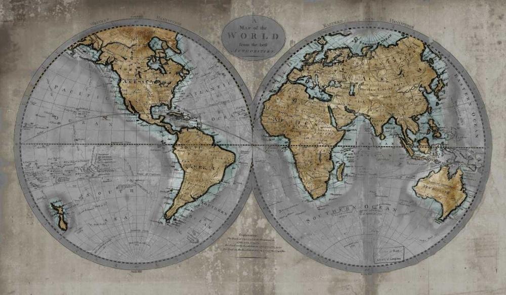 konfigurieren des Kunstdrucks in Wunschgröße Map of the World von Brennan, Russell