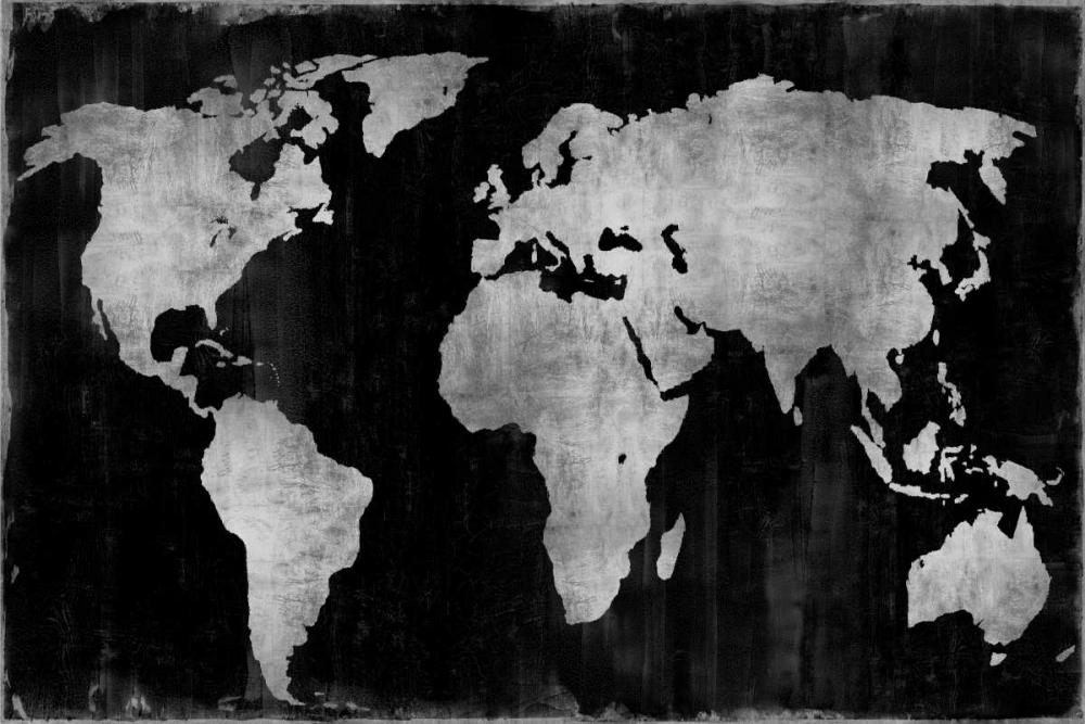konfigurieren des Kunstdrucks in Wunschgröße The World - Silver on Black von Brennan, Russell