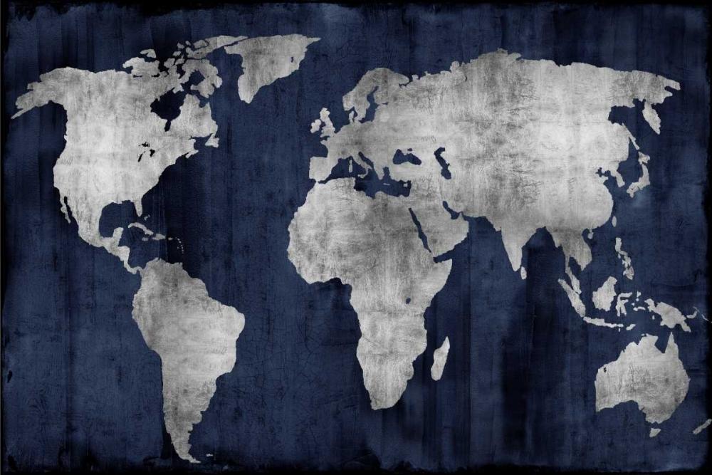 konfigurieren des Kunstdrucks in Wunschgröße The World - Silver on Blue von Brennan, Russell