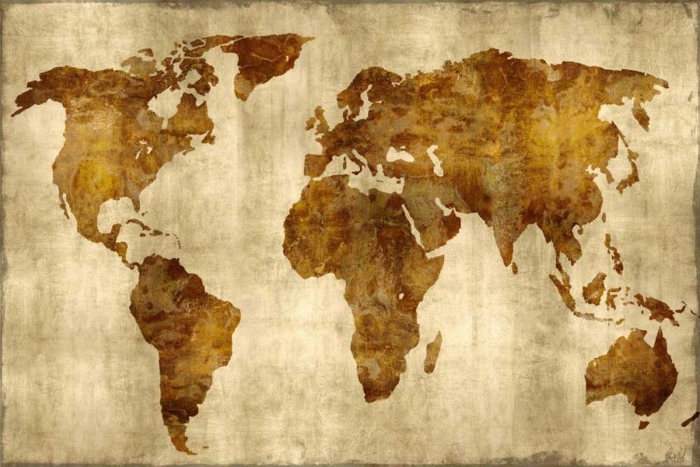 konfigurieren des Kunstdrucks in Wunschgröße The World - Bronze on Gold von Brennan, Russell