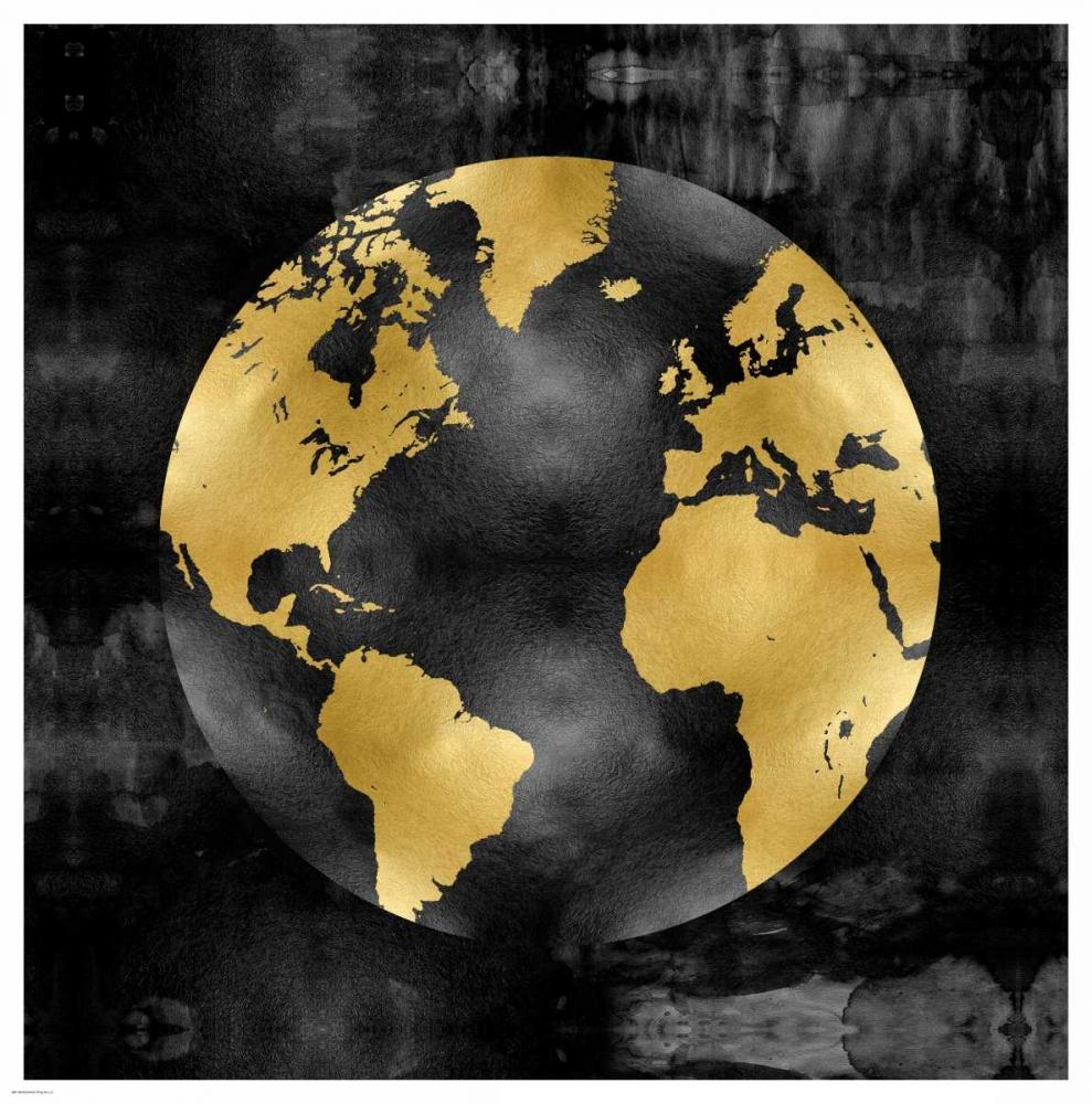 konfigurieren des Kunstdrucks in Wunschgröße The Globe Gold on Black von Brennan, Russell