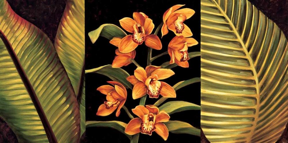 konfigurieren des Kunstdrucks in Wunschgröße Orange Orchids and Palm Leaves von Jimenez, Rodolfo