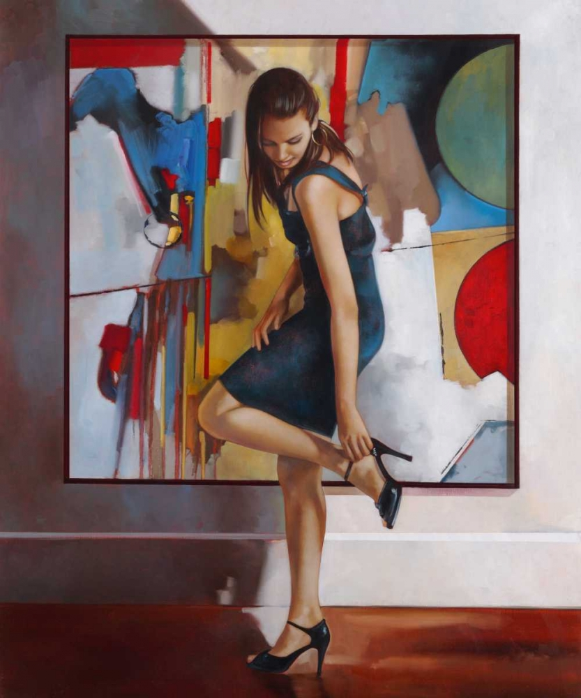 Unexpected,Di Scenza, Ron,Vertical,figurative,art,wall,hanging,woman,female,heels,dress,gallery,red,blue,green,yellow,brunette,shoes,stap,adjust,brown,black,white,people,painting,shoes,figurative,Fashion,Figurative,,,,,Fine Art,,RDS7182DG
