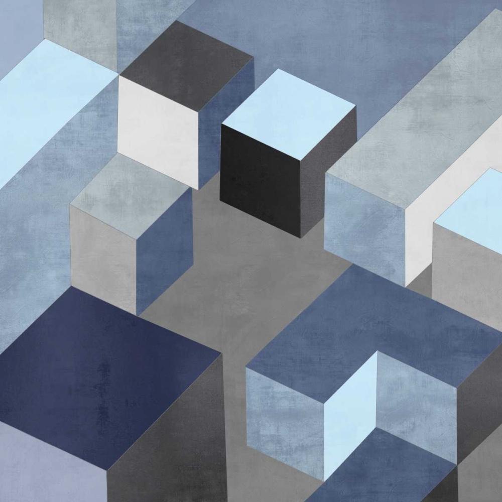 konfigurieren des Kunstdrucks in Wunschgröße Cubic in Blue I von Simmions, Todd