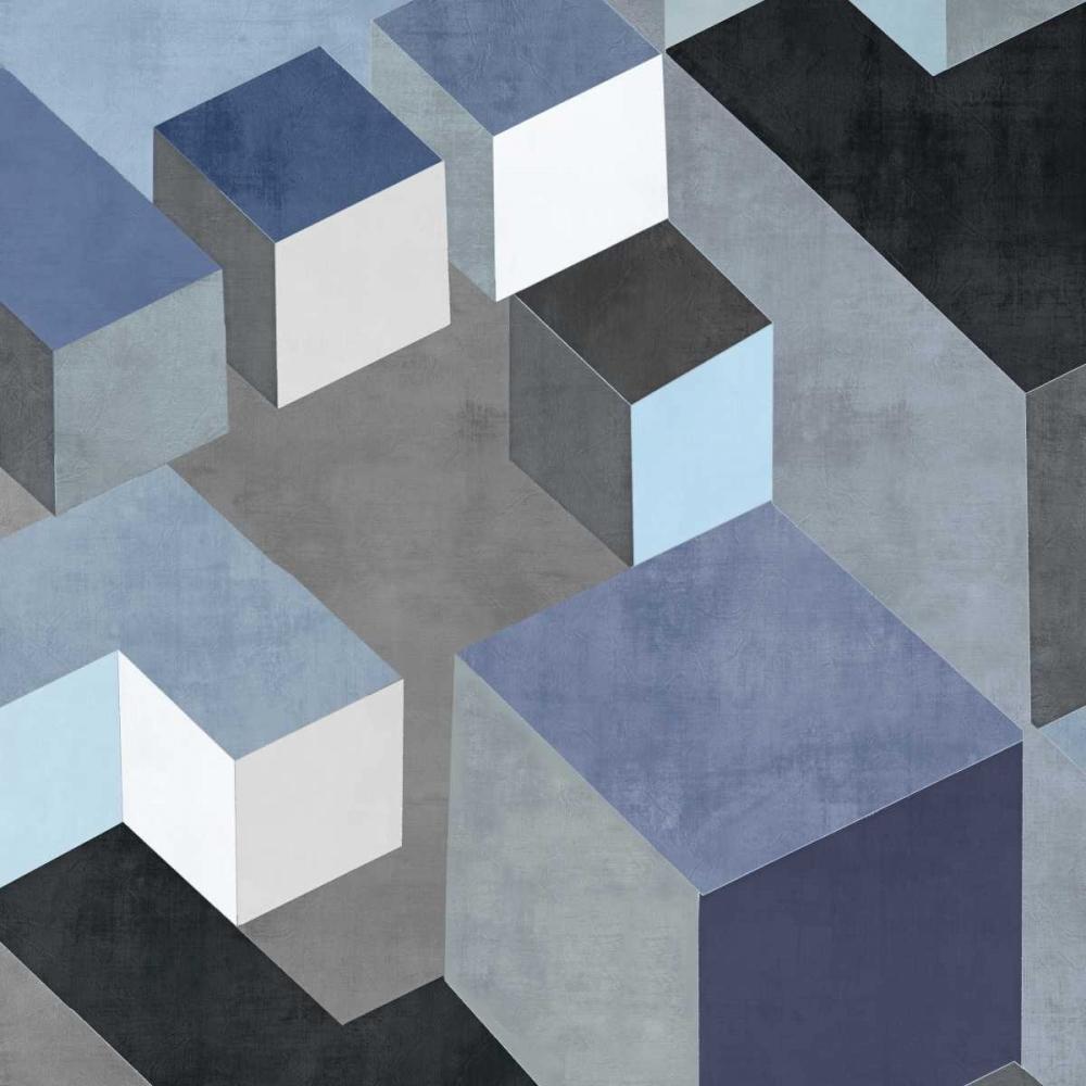 konfigurieren des Kunstdrucks in Wunschgröße Cubic in Blue II von Simmions, Todd