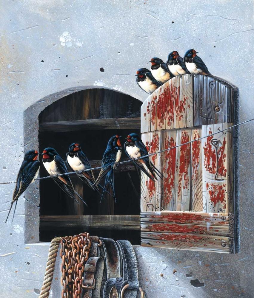 konfigurieren des Kunstdrucks in Wunschgröße Window with 9 birds von Weenink, Jan